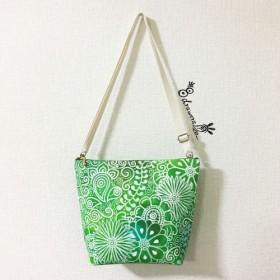 グリーン ポシェット 染色シリーズ コットン 綿 8号 帆布 ショルダーバッグ バッグインバッグ