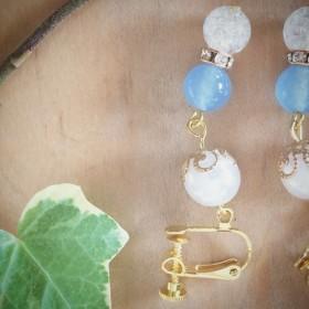 花座が付いたパールとロンデルを合わせた綺麗なイヤリング