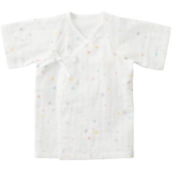 ミキハウス 星柄ガーゼ素材の短肌着 白