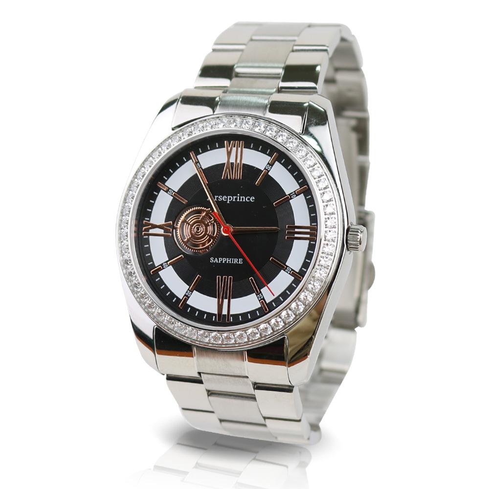 【Arseprince】都會時尚立體鑲鑽銀帶中性錶-黑
