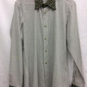 【ハンドメイドシャツ】オーガニックコットンシャツ ストライプ グレー Mサイズ スナップボタン 切り返し