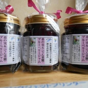 無農薬、無化学肥料、無添加、桑の実&ブルーベリージャムてん菜糖125g×3本(送料込み)