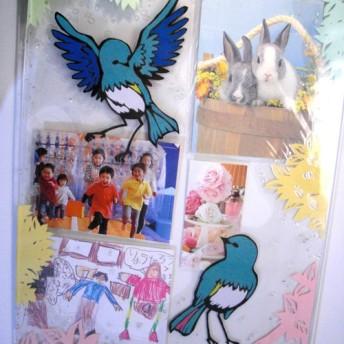 青い鳥のメッセージ写真立(40cm 28cm)