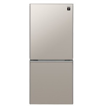 シャープ SHARP 冷蔵庫 137L 2ドア 高品位ガラスドア採用 プラズマクラスター搭載 メタリックベージュ SJ-GD14C-C