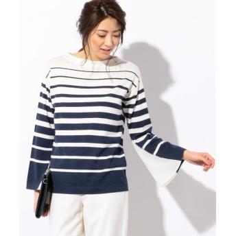 【50%OFF】 ICB Line Cloth Combi 袖コンシャスニット レディース ネイビー系8 XXS 【ICB】 【セール開催中】