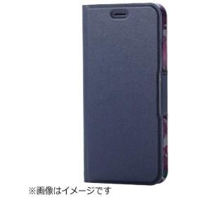 iPhone X用 手帳型 ソフトレザーカバー 薄型 女子向 磁石付 ネイビー PM-A17XPLFUJNV