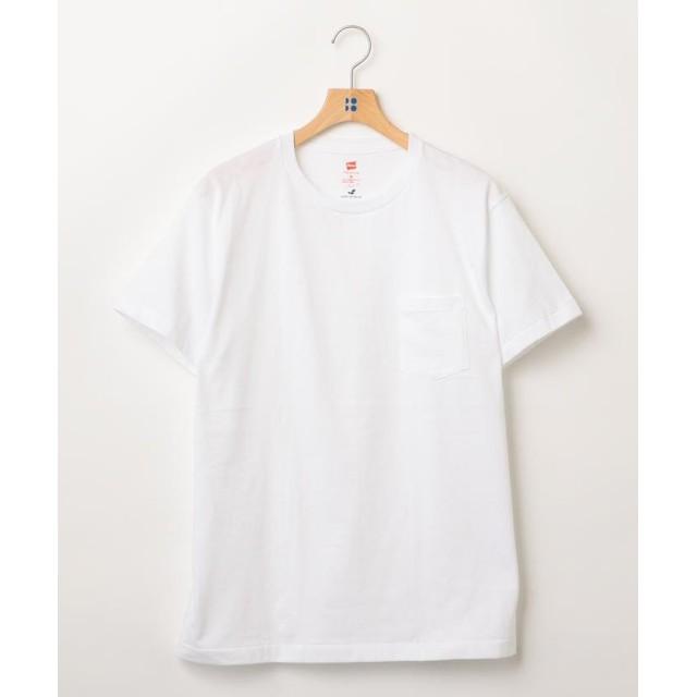 シップス Hanes×SHIPS JET BLUE: 別注 Japan Fit PREMIUM ポケットTシャツ メンズ ホワイト LARGE 【SHIPS】