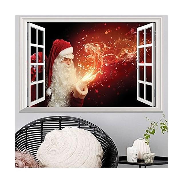 Takarafune ウォールステッカー クリスマス 偽窓 3Dウォールステッカー 立体デザイン 壁紙 シール サンダ
