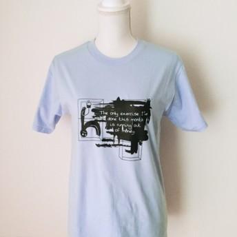 グラフィックTシャツ(男女兼用);ハンドプリント半袖シャツ、ライトブルー【Out of Money】