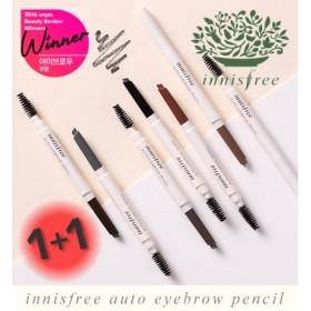 【1+1 】 イニスフリー オートアイブロウペンシル 全7色/楕円形で描きやすいペンシルにスクリューブラシ付き