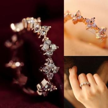 花柄SWAROVSKI/指先をスタイリッシュに彩るリング/指輪/3COLOR★遊び心も合わせ持つ、ロマンチックなデザインです♪