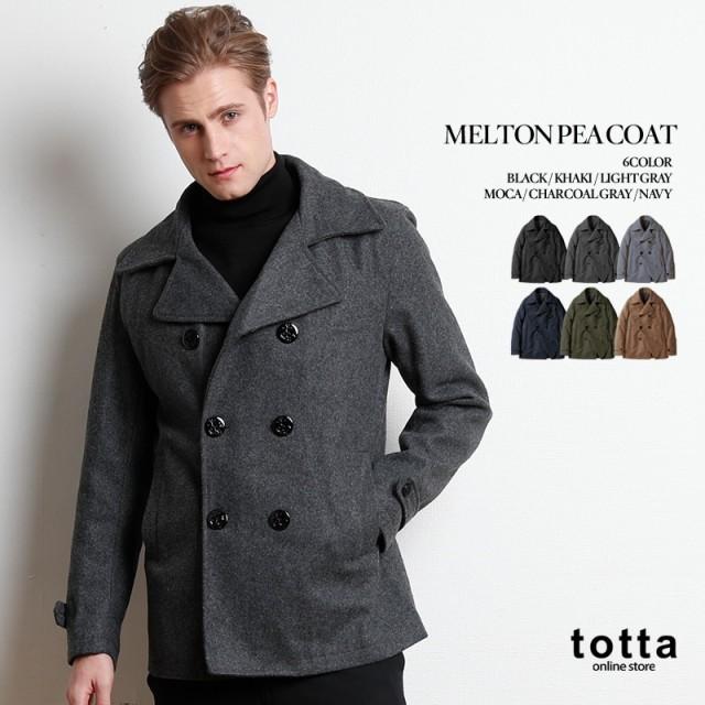 Pコート メルトン MELTON ピーコート COAT メンズ アウター メンズ ウール 冬 あったか 防寒 おしゃれ カジュアル ブラック PEA COAT 上着 プレッピー ジャケット JACKE