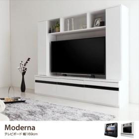 【MODERNA】 テレビボード ブラック ホワイト ハイタイプ モデルナ テレビ台 鏡面 モノトーン 高級感 収納 白 黒 かっこいい お洒落 リビング 洗練 大人 組立式 シンプル TVボード T