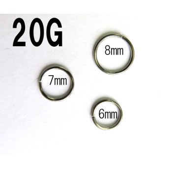 シームレスリング 【20G/0.8mm】選べる内径6mm、7mm、8mm、ノストリル /鼻ピアス (ハナピアス)