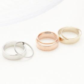 ファランジリング ピンキーリング コンビリング 2本セット 小指 指輪 間接リング シンプル艶感メタル ワイヤーリング 1号 3号 レディース ネイルに合わせて