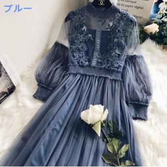全5色 韓国ファッションワンピース レディース シースルー 2点セット「ワンピース+キャミ」刺繍 バルーン袖 女子力UP↑ 大人の可愛さを詰め込む! 【送料無料】