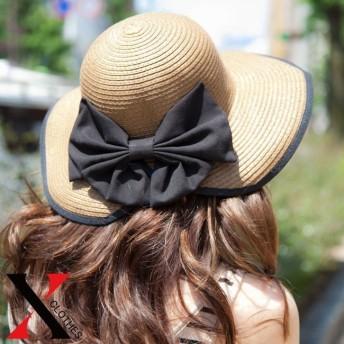 【送料無料】リボン付き麦わら帽子 ペーパーハット ストローハット レディース 帽子【麦わら つば広 女優帽 ペーパーハット レディース 帽子 大人 かわいい ビッグリボン 折りたたみ 女優帽 UV対策
