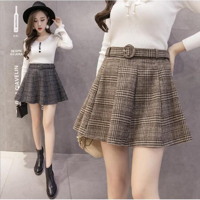 グレンチェックスカートミニスカート プリーツスカート ボトムス 可愛い お洒落 韓国ファッション 大きいサイズ