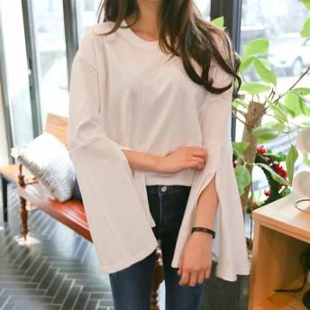 [ネコポス] カットオフベルスリーブトップス FREEサイズ アイボリー 韓国ファッション 韓国レディースファッション