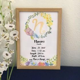 ふんわり水彩画の手描きベビーポスター/額付き