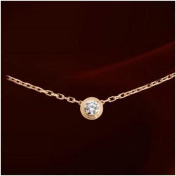 レビュー記載で高級巾着袋をプレゼント!1粒ダイヤモンドCZ彩石 ネックレス☆淡く美しい胸元をオシャレに演出してくれます【レディース、アクセサリー、18KRGP】