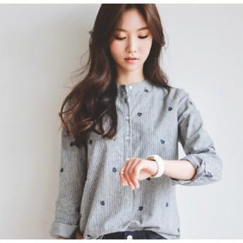 値下げ ブラウス シャツ レディース 韓国風 ストライプ コットン 立襟 小花柄 長袖 トップス S~XL4サイズ