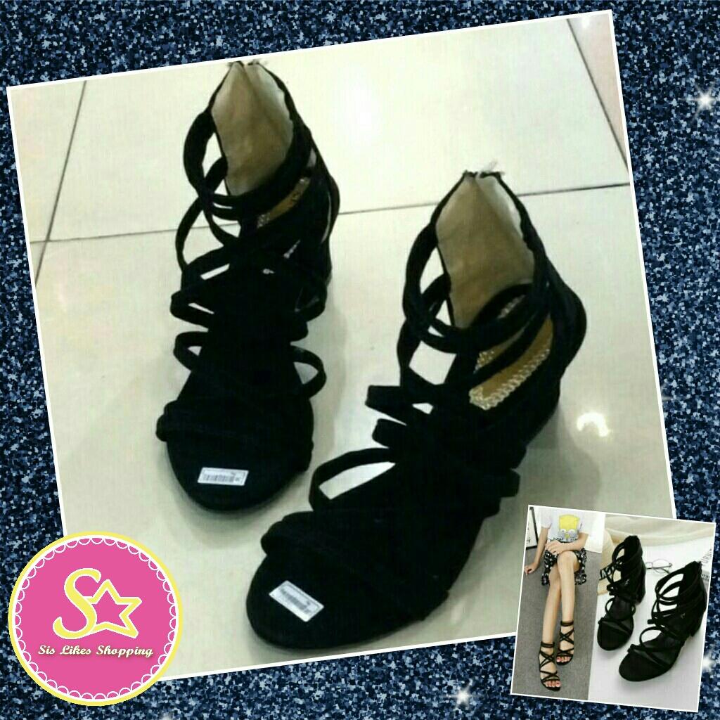 Sepatu Wanita High Heels Hak Tahu Gladiator Daftar Harga Terbaru D Tb41 Heel 5cm 5 Cm Sandal Sendal Cewe Hitam Black Kotak