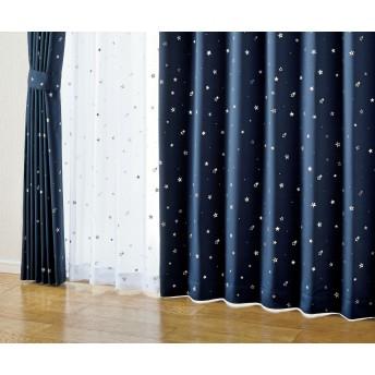 HOME COORDY 遮光 星柄プリント レースカーテン ホワイト 100X103cm 1枚入り HC-LK ホームコーディ 100X103cm 1枚入り
