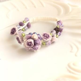 薔薇ブーケと天然石のローズガーデン編み込みブレス