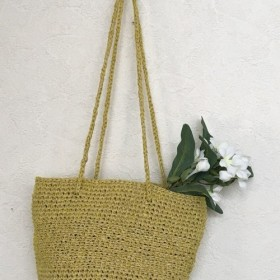 春先取り simple 2way basket bag yellow