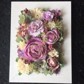 紫ラナンと薔薇のフラワーフレーム(ホワイト)フラワーアレンジメント4way