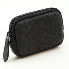 高級 本革 大人 の マルチポーチ 小さなお出かけバッグも すっきり 整理 手のひらサイズ 小物入れ(ブラック)