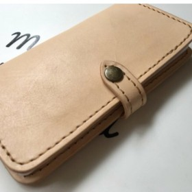 ヌメ革 ナチュラル iphone X XS 手帳型ケース