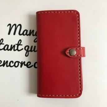 ヌメ革 レッド iphone5 5s SE 手帳型ケース