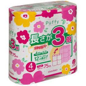 トイレットペーパー 4ロール入 再生紙配合 ダブル 75m パフィー長さが3倍4ロール 1パック(4ロール入り) 大王製紙