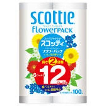 トイレットペーパー 6ロール入 再生紙配合 シングル 100m 花の香り スコッティフラワーパック2倍巻き 1パック(6ロール入) 日本製紙クレシア