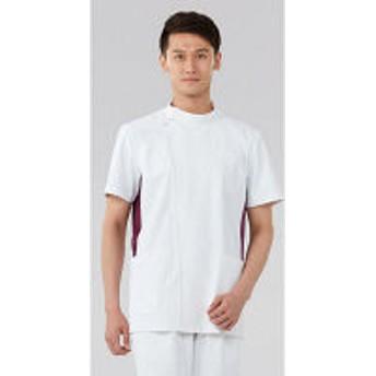 KAZEN メンズジャケット半袖 医療白衣 ホワイトxワイン L 057-25 (直送品)