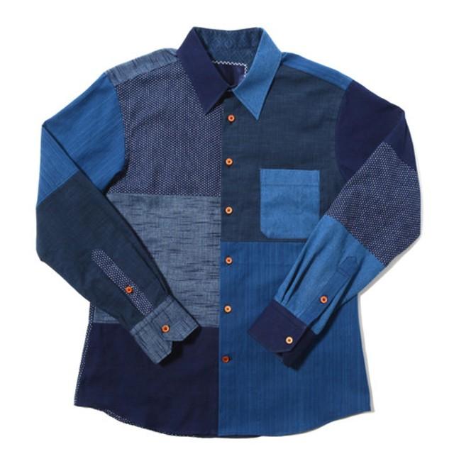 武州藍染 クレイジーパネル パッチワーク ウッドボタン シャツ