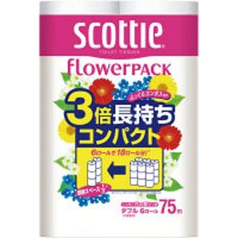 トイレットペーパー 6ロール入 再生紙配合 ダブル 75m くつろぐ花の香り スコッティフラワーパック 3倍長持ち6ロール(1パック6ロール入)
