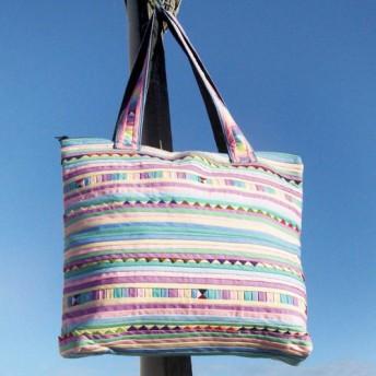 カラフルな虹の世界の虹横縞 - デザイン手作り綿のショルダーバッグ/パッチワークショルダーバッグ/バックパック旅行側/国家風バッ