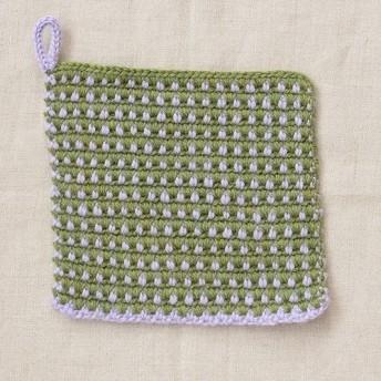 もよう編みのポットマット・ポットホルダー:オリーブ × ライラック