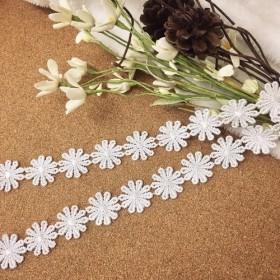 *再入荷*1m 艶ありタイプ マーガレット 花 ケミカルレース ブレード 白 BK180205 ハンドメイド 素材