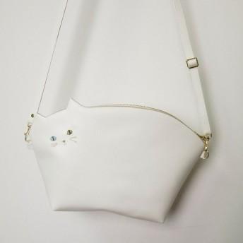 【送料無料】☆BIGサイズ☆ひげの白猫ポシェット【受注製作】Pinpignon猫バッグ