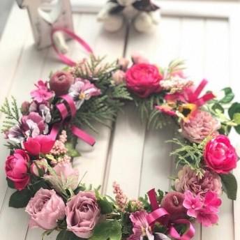 【再販中】『大人可愛いリース』贅沢薔薇*ピンクグラデ