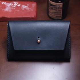 名刺(カード)入れ イタリアヌメ革レザー ミネルバリスシオ ネロ【黒】