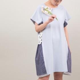 【送料無料再々々販】綿100のつぼみワンピース(ブルー)