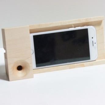 木製スピーカー スマホスタンドP2 ハードメイプル