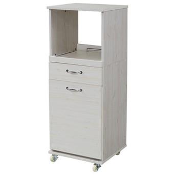 食器棚 コンパクト レンジラック ダストボックス ペール付 幅45 H120/FLL-0069-WH ホワイト