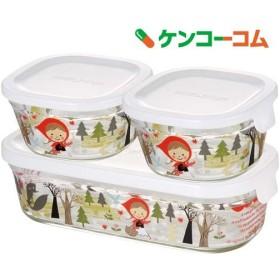 iwaki シンジカトウ パック & レンジ 角型3点セット precious red hood PS-PRNSNA3 ( 1セット )