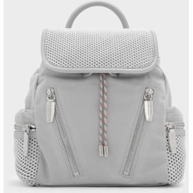 メッシュディテール ショルダーバッグ / MESH DETAIL SHOULDER BAG (Grey)